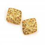 Vintage Chanel Gold Tone Diamon Shaped Earrings
