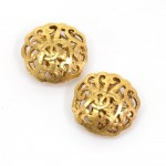 Chanel Gold Tone CC Logo Large Round Earrings