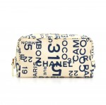 Chanel White Canvas x Navy Graffiti Large Vanity Cosmetic Case Pouch