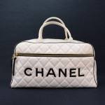 Chanel White Quilted Leather Large Boston Hand Bag