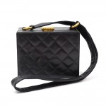 Vintage Chanel Black Quilted Leather Shoulder Square Pochette Bag