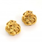 Chanel Gold Tone CC Logo Round Earrings