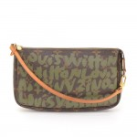 Louis Vuitton Pochette Accessories Green Graffiti Monogram Canvas Bag - 2001 Limited