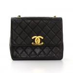 """Vintage Chanel 10"""" Black Quilted Leather Shoulder Flap Bag Large CC Logo"""