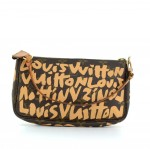 Louis Vuitton Pochette Accessories Beige Graffiti Monogram Canvas Bag - 2001 Limited
