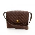 Vintage Chanel Dark Brown Quilted Caviar Leather Shoulder Flap Bag