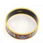 Hermes Dark Red x Gold Tone Enamel Wide Bracelet Bangle