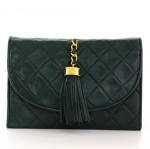 Vintage Chanel Dark Green Quilted Leather Fringe Mini Clutch Bag