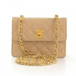 Vintage Chanel Beige Quilted Leather Shoulder Mini Flap Bag