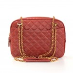 Vintage Chanel Red Quilted Leather Gold Tone Chain Shoulder Bag + Wallet