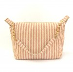 Chanel Pink x Beige Stripe Canvas Large Shoulder Tote Bag
