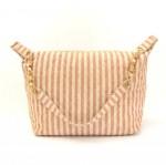 Chanel Pink x Beige Stripe Canvas Large Shoulder Tote Bag