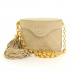 Vintage Chanel Beige Quilted Leather Fringe Shoulder Pochette Flap Bag