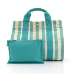 Hermes Cannes PM Cyan x Ivory Canvas Tote Hand Bag.