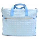 Chanel Travel Line Light Blue Jacquard Nylon XL Tote Bag