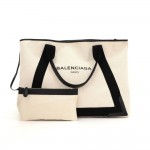 Balenciaga White x Black Canvas Tote Bag Pouch
