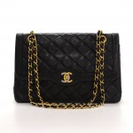 Vintage Chanel 2.55 10inch Double Flap Black Quilted Leather Paris Limited Shoulder Bag