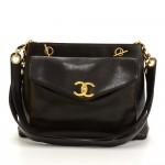 """Chanel 12"""" Black Leather Medium Shoulder Tote Bag"""