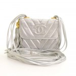 Vintage Chanel Flap Silver Metallic Quilted Leather Fringe Mini Shoulder Bag