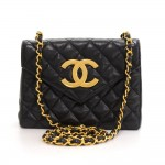 Vintage Chanel 7.5 inch Black Quilted Leather Shoulder Flap Bag Large CC