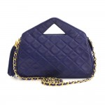 Vintage Chanel Navy Blue Quilted Leather Fringe Shoulder Bag