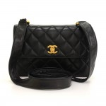 "Vintage Chanel 9"" Flap Black Quilted Leather Shoulder Pochette Bag"
