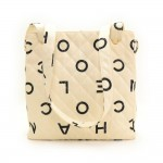 Chanel White Quilted Canvas Medium Tote Shoulder Hand Bag