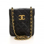 "Chanel 7"" Flap Black Quilted Leather Shoulder Mini Bag"