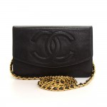 Chanel Black Caviar Leather Wallet On Long Shoulder Chain
