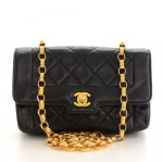 "Vintage Chanel 7"" Flap Black Quilted Leather Shoulder Mini Bag"