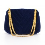 Chanel Blue Navy Quilted Velvet Shoulder Party Bag