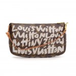 Louis Vuitton Pochette Accessories Gray Graffiti Monogram Canvas Bag - 2001 Limited