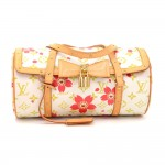 Louis Vuitton Papillon 27 Cherry Blossom White Monogram Canvas Murakami Hand Bag