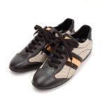 Louis Vuitton Dark Brown Leather x Canvas Sneakers Made in Italy Size 341/2