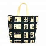 Chanel Windows Lines Black x White Cotton XLarge Tote Hand Bag