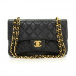 Chanel 2.55 9inch Double Flap Black Quilted Leather Shoulder Bag