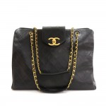 Vintage Chanel Supermodel Black Leather XL Shoulder Tote Bag