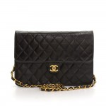 "Chanel 10"" Classic Black Quilted Leather Shoulder Flap Bag"