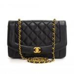 "Chanel 10"" Dianna Classic Black Quilted Leather Shoulder Flap Bag"