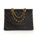 Chanel GST Black Quilted Leather Gold Hardware Large Tote Bag