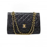 33 Vintage Chanel 2.55 10inch Double Flap Black Quilted Leather Paris Limited Shoulder Bag
