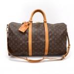 Vintage Louis Vuitton Keepall 50 Bandouliere Monogram Canvas Duffel Travel Bag + Strap