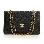 Vintage Chanel 2.55 10inch Double Flap Black Quilted Leather Paris Limited Shoulder Bag