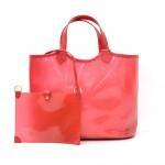 Louis Vuitton Plague Lagoon MM Red Vinyl Beach Tote Hand Bag