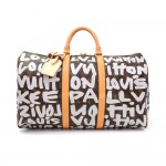 Louis Vuitton Keepall 50 Gray Graffiti Monogram Canvas Duffle Travel Bag - 2001 Limited