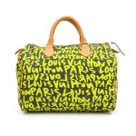 Louis Vuitton Green Graffiti Speedy 30 Monogram Canvas City Hand Bag - Limited