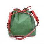 Vintage Louis Vuitton Petit Noe Green Red Vio Epi Leather Shoulder Bag