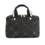 Chanel Travel Line Black x White Nylon Waterproof Hand Bag