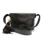 Chanel 7inch Black Quilted Leather Fringe Shoulder Pochette Bag
