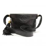 Chanel 7inch Black Quilted Leather Fringe Shoulder Pochette Bag